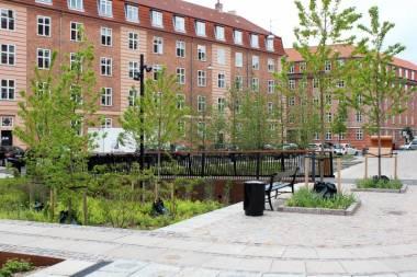 Tåsinge Plads meydanı resmi olarak 2014 yılında açıldı, yani Kopenhag'ın Yeşil Avrupa başkenti seçildiği yıl. Yeni kent mekânları tasarlanmasının amacı hem gelecekte yaşanacak yoğun yağışlarla mücadele edebilmek hem de yaşanan muhiti insanların gerçekten yaşamak ve orada kalmak isteyecekleri bir mekân haline getirmek.