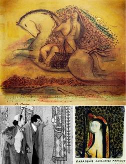 'Karadut'u için şiirler yazan, resimler çizen Bedri Rahmi bu eserinde onunla uzaklara kaçma fantezisini tabloya aktarmış.